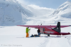 Ski plane landings for mountain climbers.